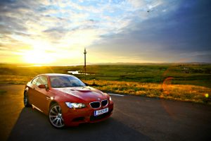 Red BMW In The Sunset