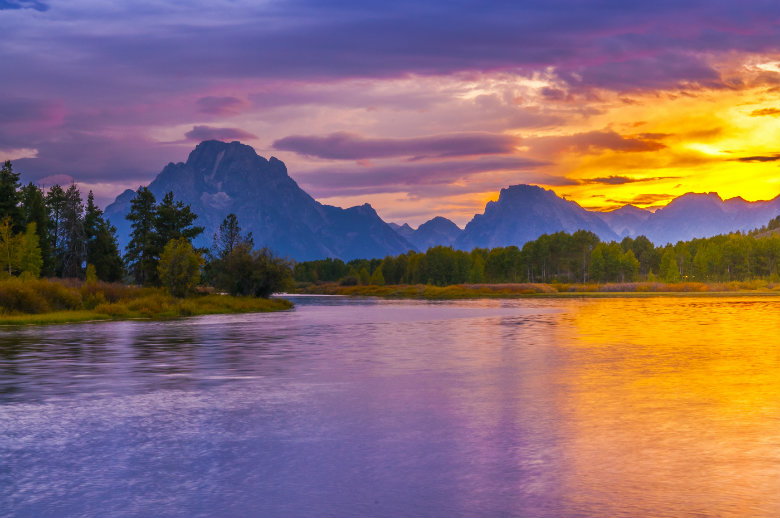 Beautiful Sunset at Grand Tetons