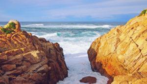 California rocks and ocean