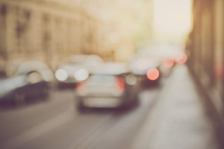 Blurred cars in traffic