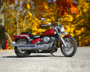 Red motorcycle in Fall