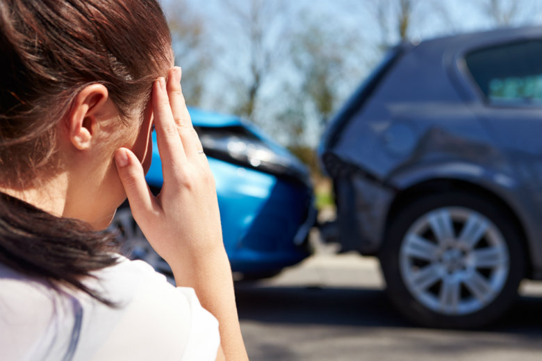 Woman stressed about auto accident