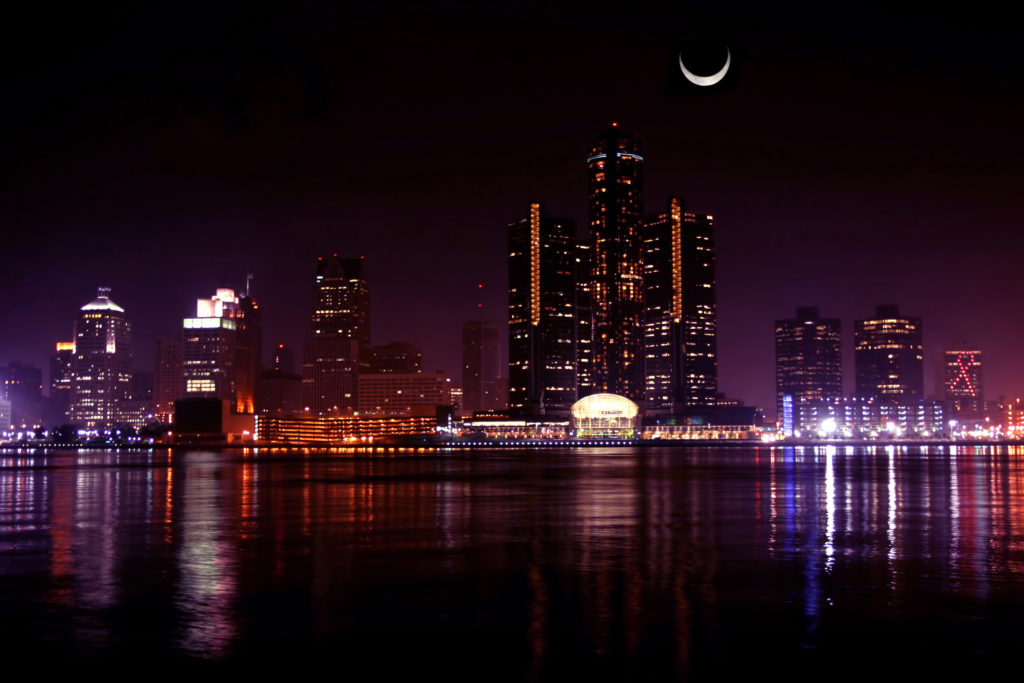 Detroit at night with moon