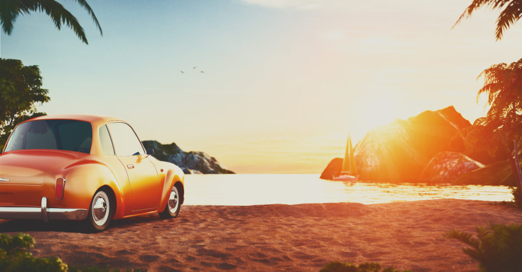 Retro car at beach
