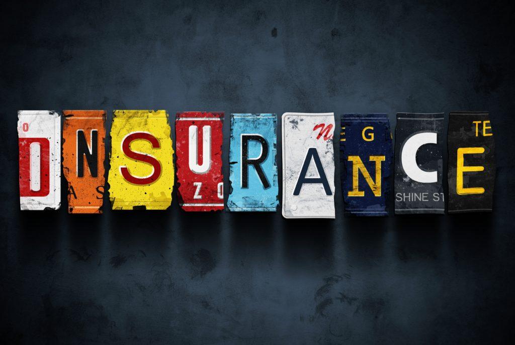 Insurance Word on Vintage License Plates