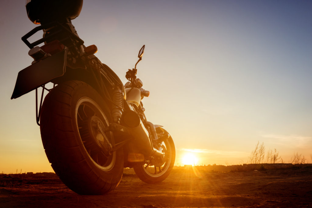 Motorbike in sunset backdrop