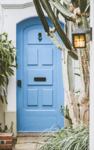 Blue house door